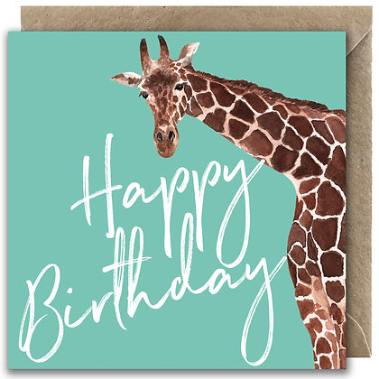 Giraffe Happy Birthday Greeting Card