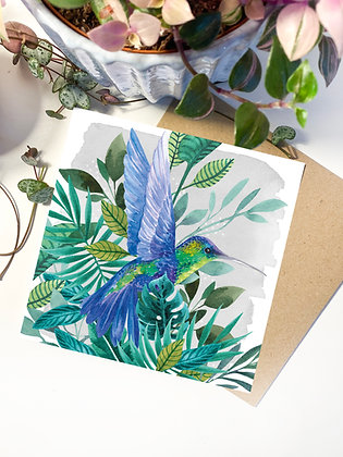 Tropical Hummingbird Greeting Card