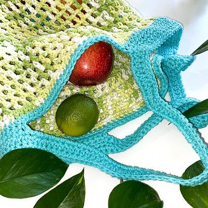 Crochet Boho Tote Bag - Aqua