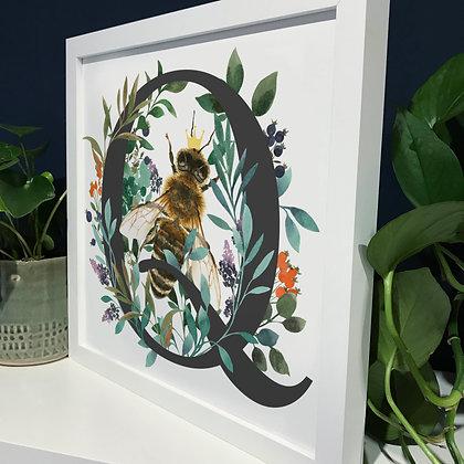 Q for Queen Bee Fine Art Print