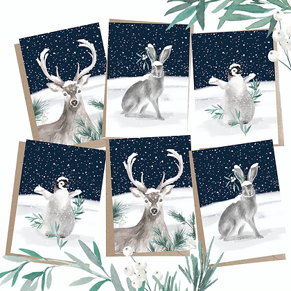 Christmas Animals - Pack of 6 Greetings Cards