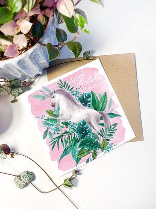 Tropical Unicorn Greeting Card