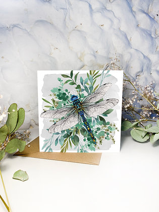 Botanical Dragonfly Greeting Card