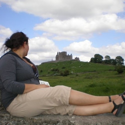 Kathryn at Hore Abbey looking back at the Rock of Cashel, Southern Ireland