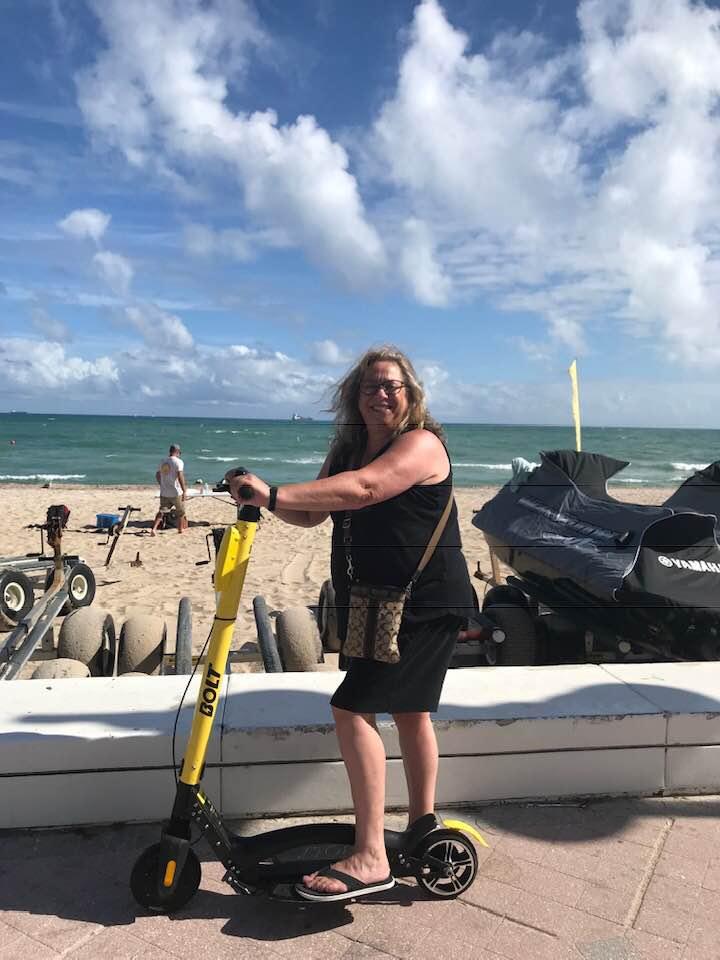Rhonda scootering in Tampa.