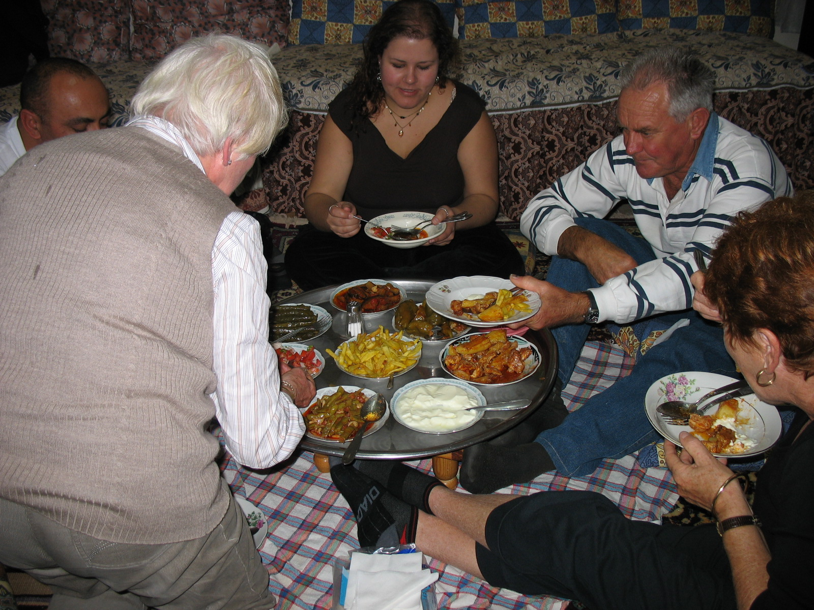 Kathryn enjoying a Turkish feast in a local's home.