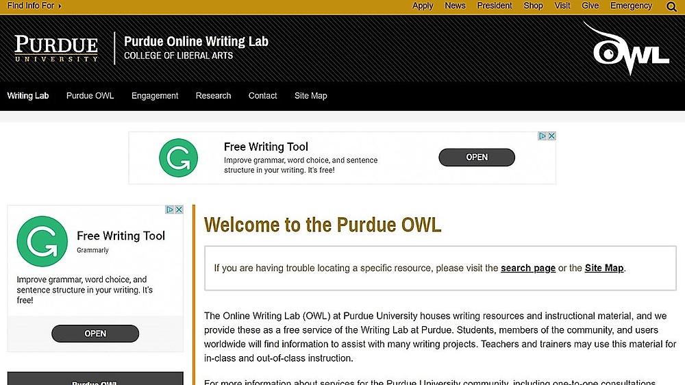 Screen shot of the Purdue OWL home screen.
