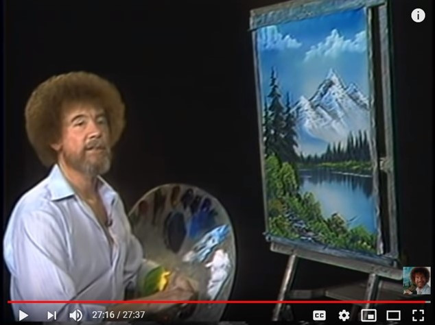 Bob Ross making an acrylic painting of a landscape.