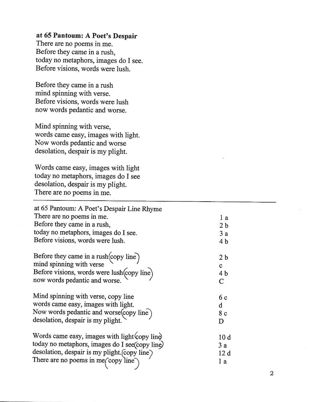 """Poem titled """"At 65 Pantoum: A Poet's Despair"""" by Lynn Skapyak Harlin"""