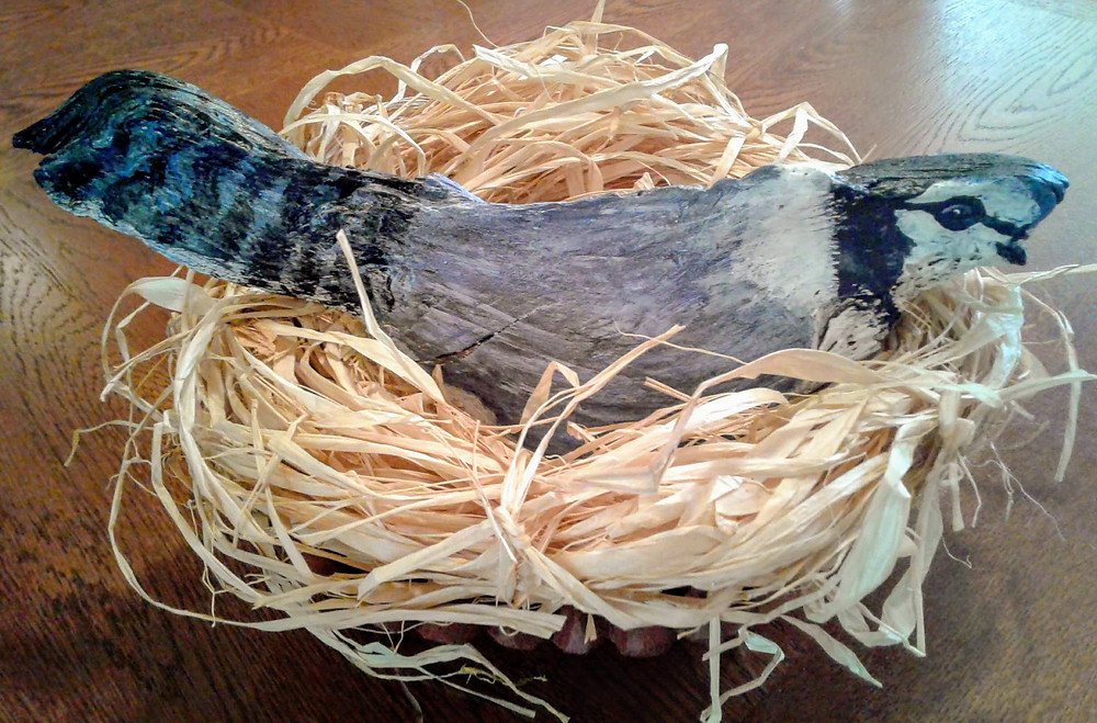 Photo of blue-jay sculpture in nest with wooden display.