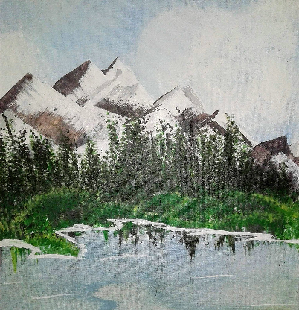 Landscape painting with snow capped mountains in background and water in foreground.