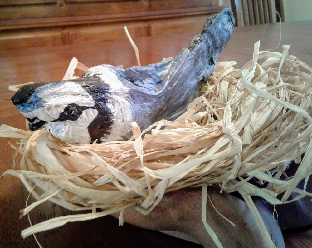 Photo of blue-jay sculpture in nest and wooden display.