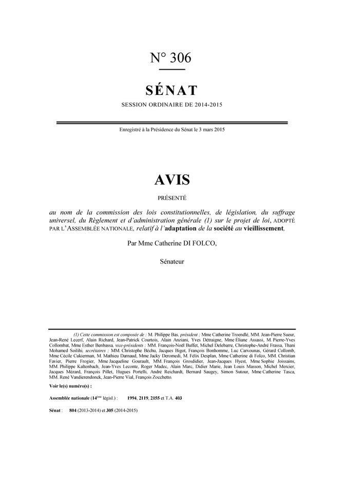 """Rapport sur le projet de loi """"adaptation de la société au vieillissement"""""""