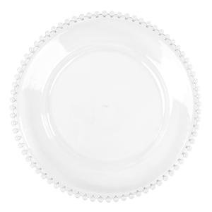 ACRYLIC BEADED CHARGER PLATE CLEAR
