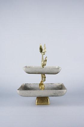 ANTIQUE GOLD LEAF | 2 TIER STAND
