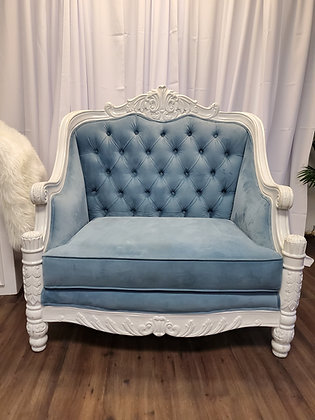 BLUE VELVET VICTORIAN CHAIR