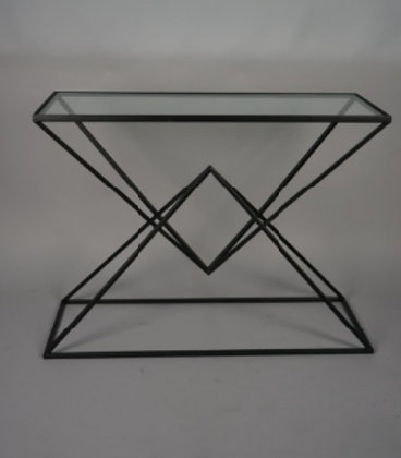 BLACK METAL AND GLASS CONSOLE