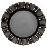 WAVED SCALLOPED ACRYLIC CHARGER BLACK/GOLD