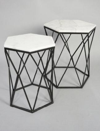 BLACK/WHITE MARBLE HEXAGON PEDESTAL/SIDE TABLE