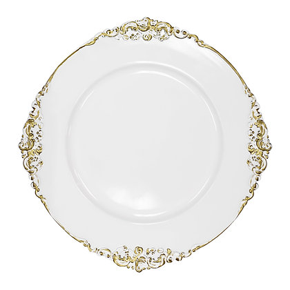 VINTAGE CHARGER PLATE/WHITE GOLD