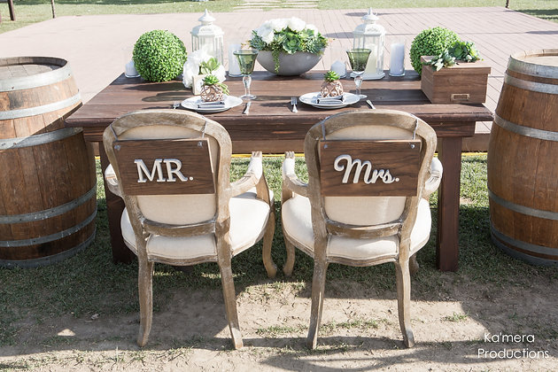 MR. & MRS. | RUSTIC CHAIR SIGN