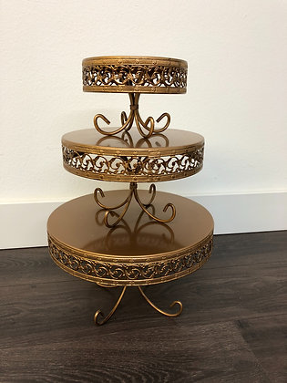 Matte Gold Metal Stands | 3 Piece Set