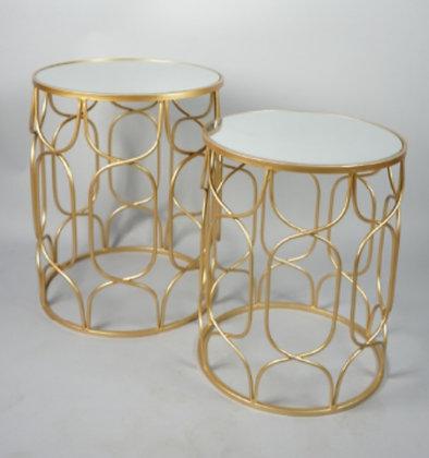 GOLD MORROCAN PEDESTALS/SIDE TABLES