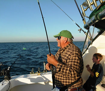 Salm-Eye-Emm charter fishing in the Straits of Mackinc.