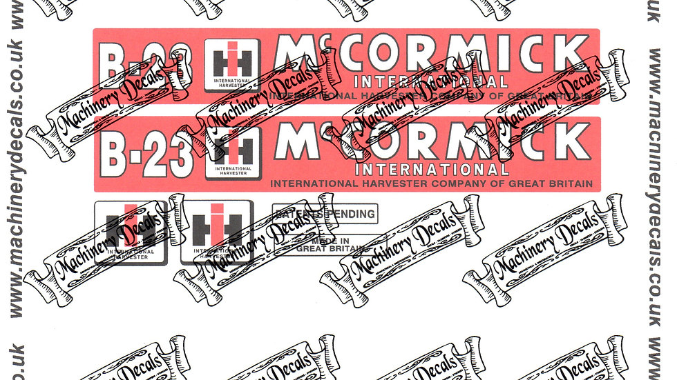McCORMICK INTERNATIONAL B23 MOWER DECALS