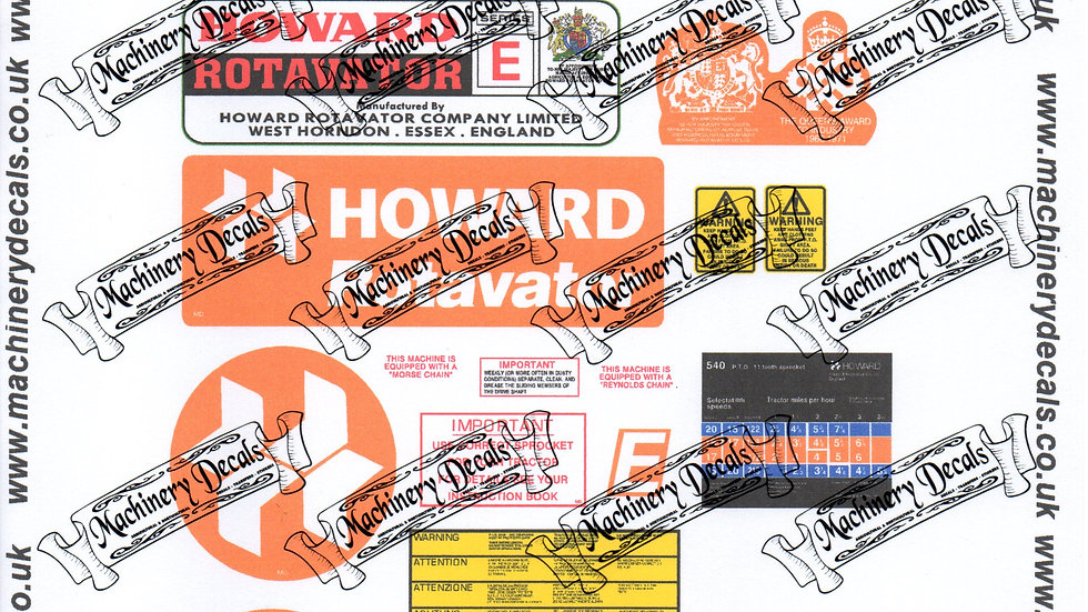 HOWARD TRACTOR MOUNTED ROTAVATOR 540 PTO DECAL SET