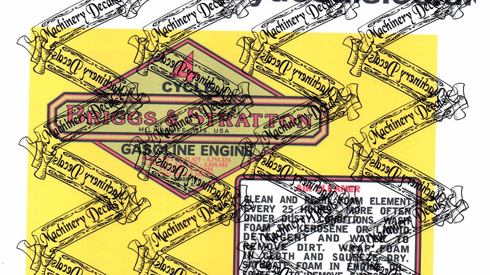 BRIGGS & STRATTON EARLY 4 CYCLE (STROKE) ENGINE DECALS