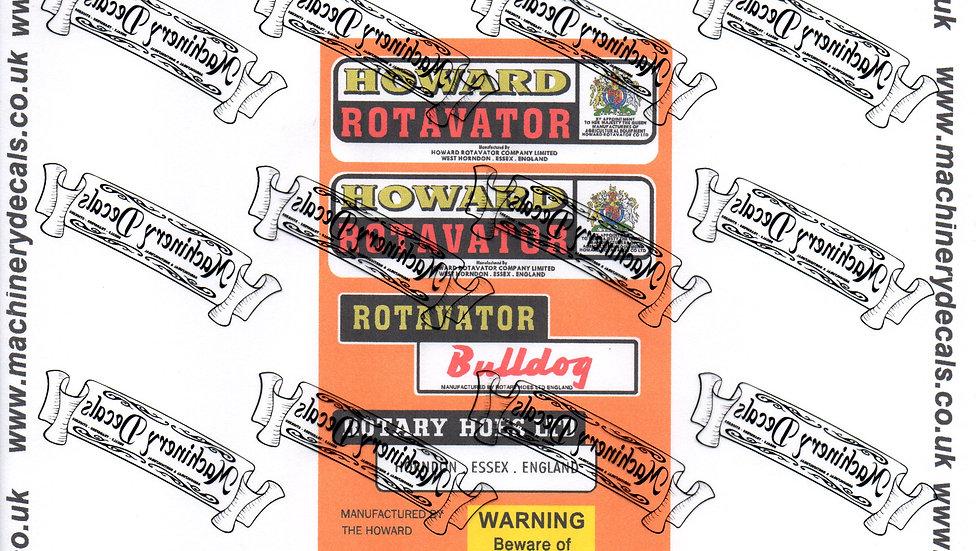 HOWARD BULLDOG ROTAVATOR DECALS