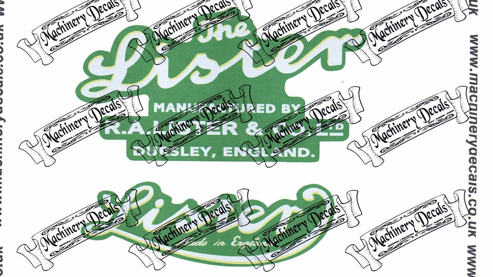 LISTER STATIONARY ENGINE DECALS (SILVER)