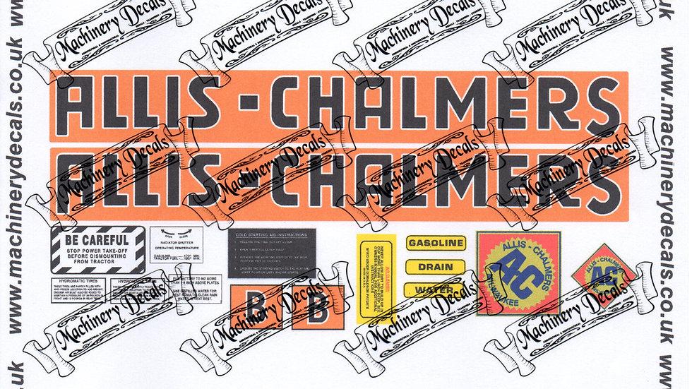 ALLIS CHALMERS MODEL B DECALS SET