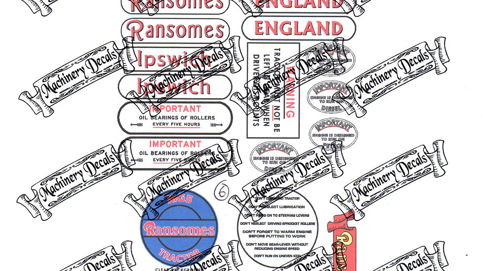RANSOMES MG6 CRAWLER DECALS