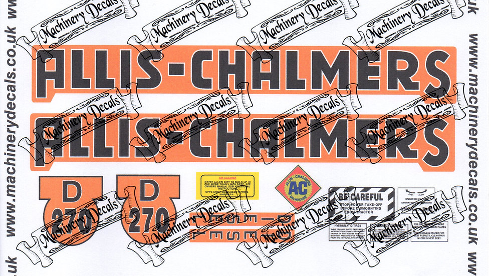 ALLIS CHALMERS D270 DECALS SET