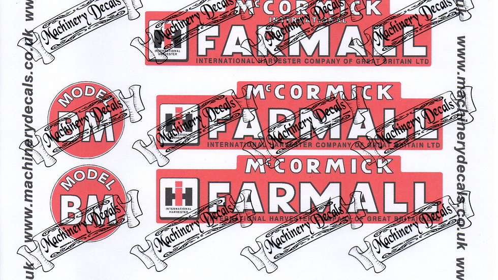 FARMALL MODEL BM TRACTOR DECALS