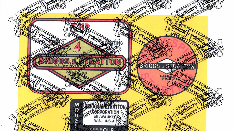BRIGGS & STRATTON EARLY 5 hp ENGINE DECALS