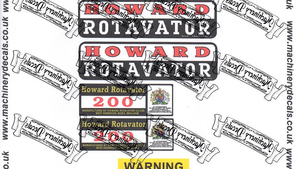 HOWARD 200 ROTAVATOR DECALS