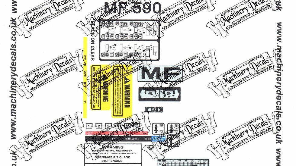 MASSEY FERGUSON 590 CAB DECALS SET