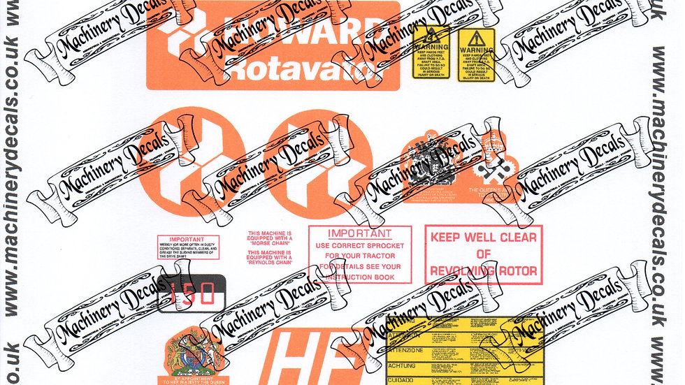 HOWARD TRACTOR MOUNTED ROTAVATOR 1000 PTO DECAL SET