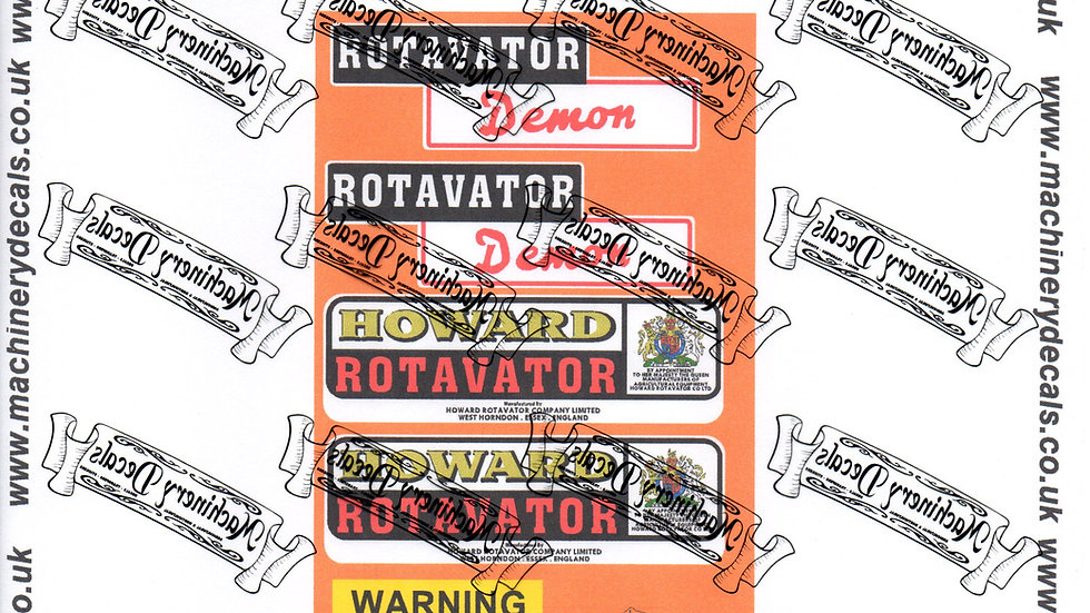 HOWARD DEMON ROTAVATOR DECALS