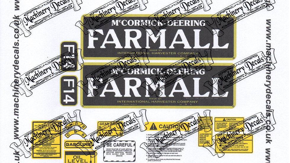 FARMALL F14 DECALS SET