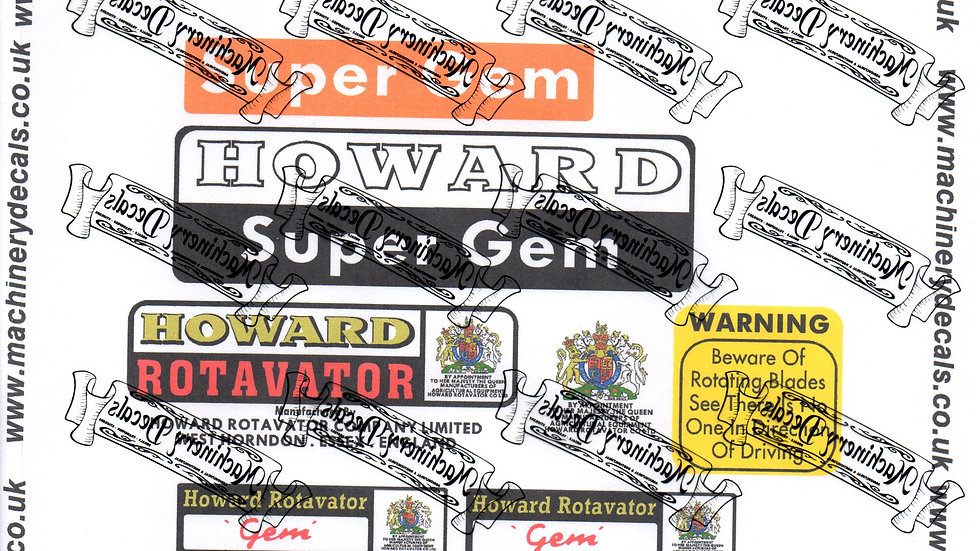 HOWARD SUPER GEM ROTAVATOR DECALS
