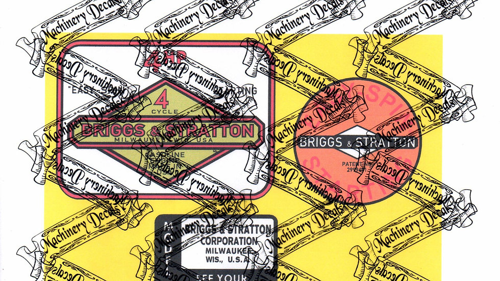 BRIGGS & STRATTON EARLY 4 hp ENGINE DECALS