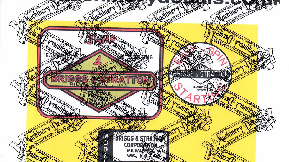 BRIGGS & STRATTON EARLY 3.5 hp ENGINE DECALS
