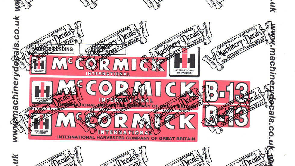 McCORMICK INTERNATIONAL B13 PLOUGH DECALS