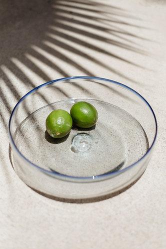 Blue Rimmed Glass Bowl