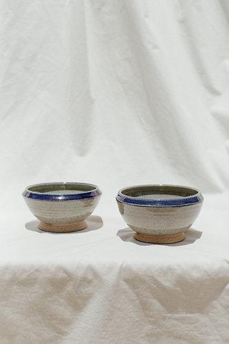 Blue Rimmed Ceramic Bowls
