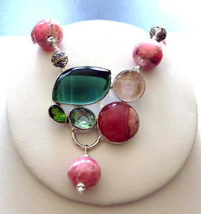 SPRING Necklace with RHODOCHROSITE